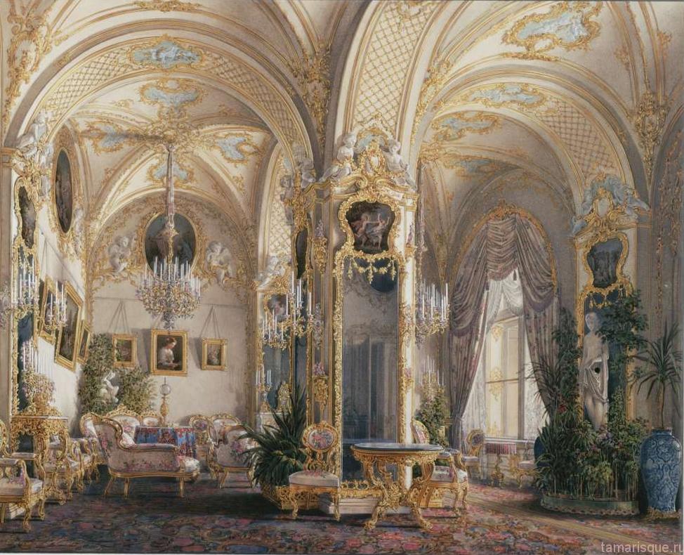 Интерьер Зимнего дворца. Гостиная в стиле рококо с купидонами.