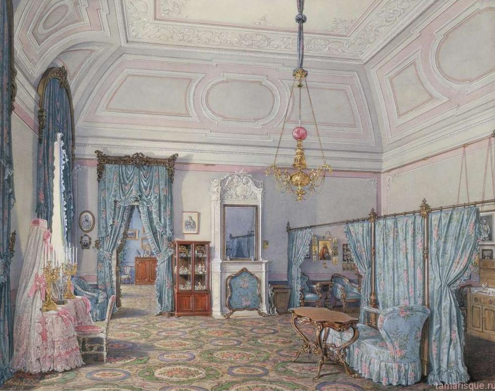 Интерьер Зимнего дворца. Спальня Великой Княжны Марии Александровны